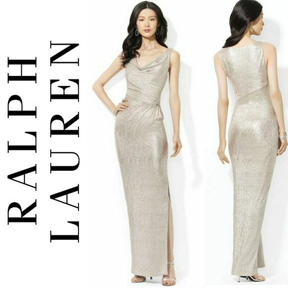 Ralph Lauren Dresses | Long Gold Crystal Gown | Poshmark